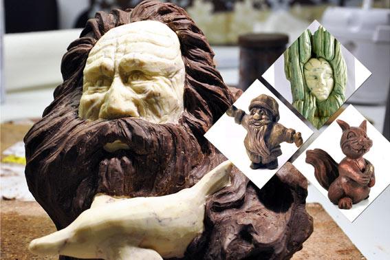 Schnitzen von Schokoladenskulpturen