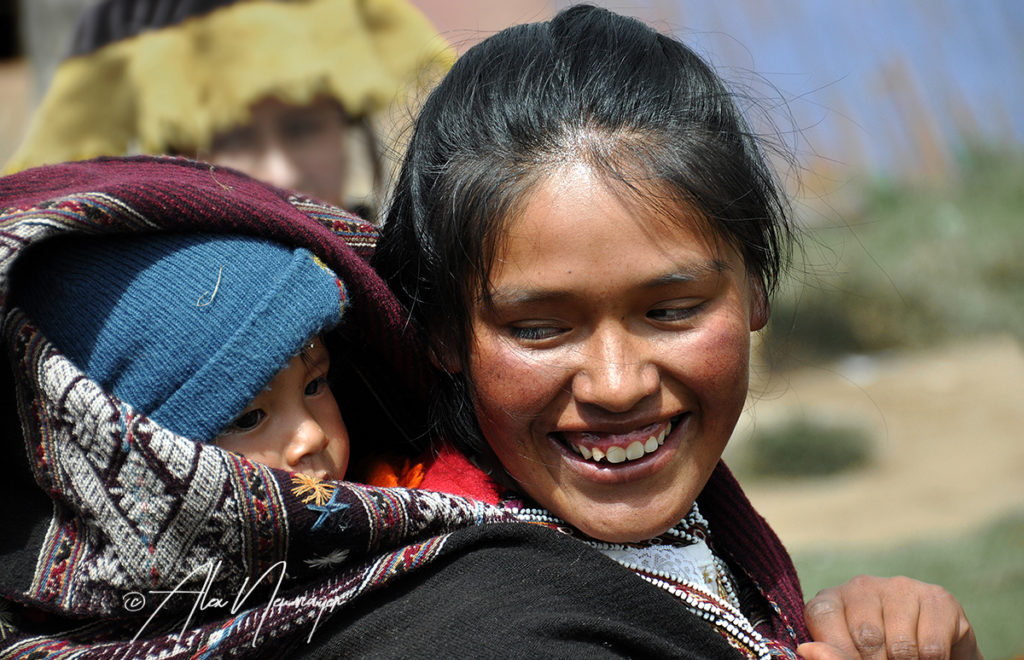 peruan girl with baby