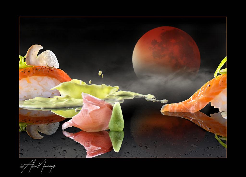 food art - nigiri mit blutmond