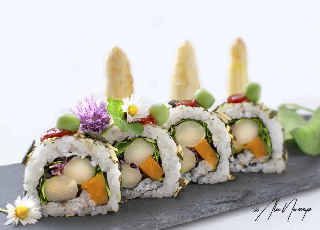 Spargel Sushi mit Erbsen6993
